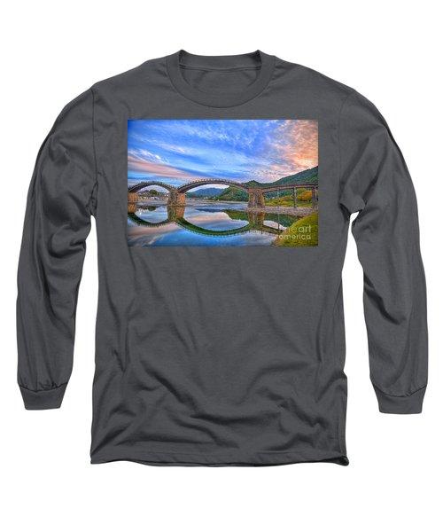 Kintai Bridge Japan Long Sleeve T-Shirt by Rod Jellison