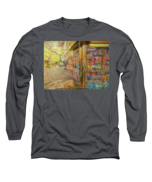 Kiosk - Prague Street Scene Long Sleeve T-Shirt