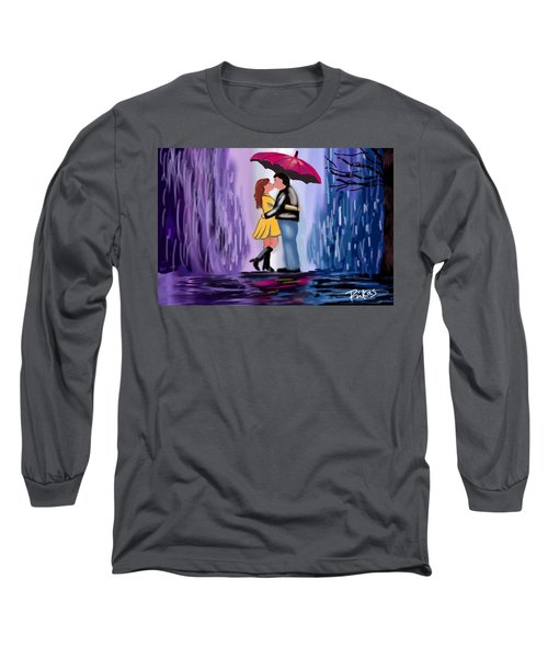 Long Sleeve T-Shirt featuring the digital art Kiss In The Rain by Diana Riukas