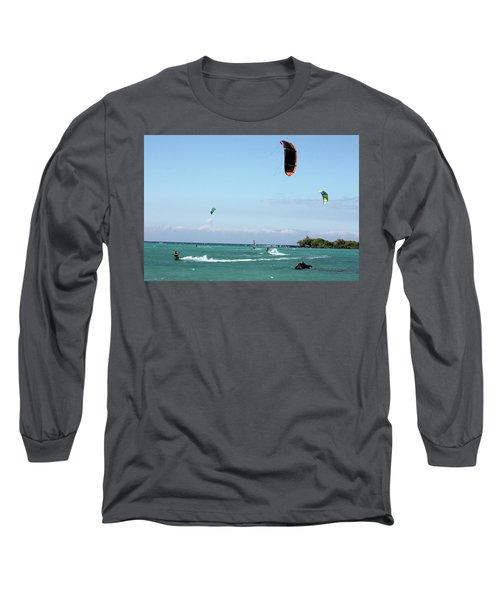 Kite Surfers And Maui Long Sleeve T-Shirt by Karen Nicholson