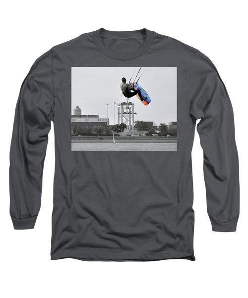 Kitesurfer Catching Air Long Sleeve T-Shirt by Joanne Brown