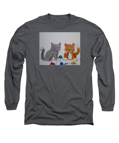 Long Sleeve T-Shirt featuring the drawing Kitt And Katt by Megan Walsh