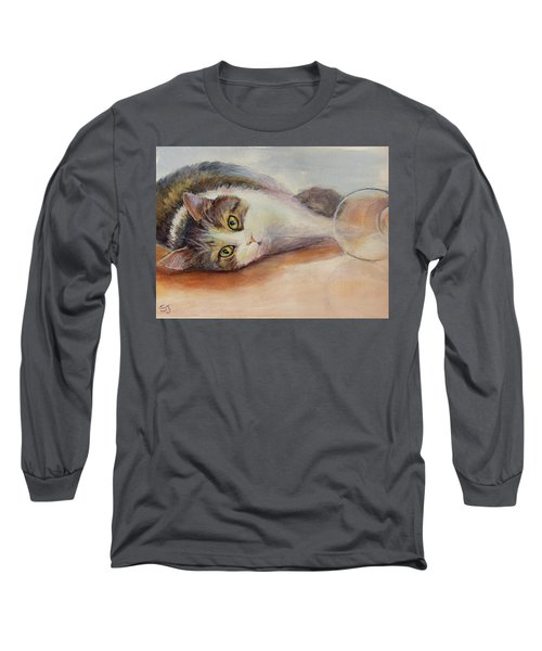 Kitty With Spilled Milk Long Sleeve T-Shirt