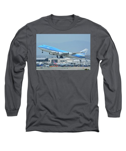 Long Sleeve T-Shirt featuring the photograph Klm Boeing 747-406m Ph-bfh Los Angeles International Airport May 3 2016 by Brian Lockett