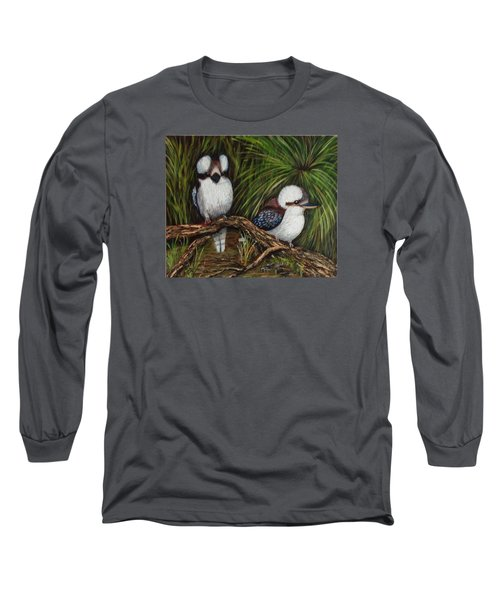 Long Sleeve T-Shirt featuring the painting Kookaburras by Renate Voigt
