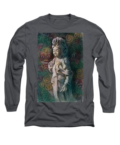 Long Sleeve T-Shirt featuring the painting Kuan Yin Dragon by Sue Halstenberg