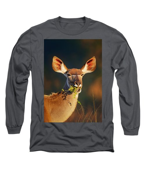 Kudu Portrait Eating Green Leaves Long Sleeve T-Shirt