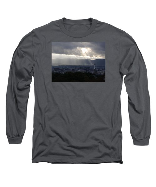 Kyoto Skyline Long Sleeve T-Shirt by Pete Hall