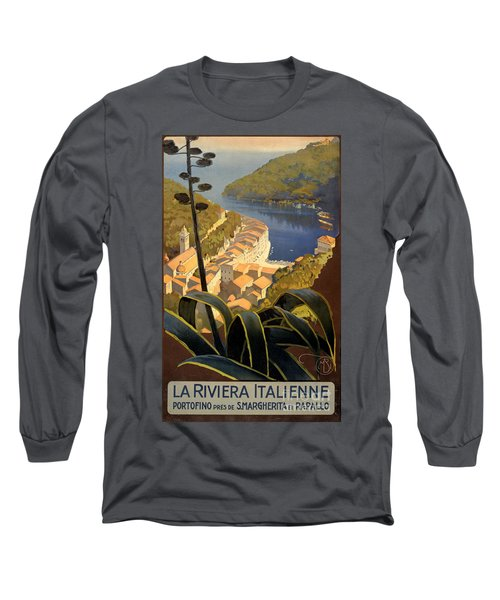 La Riviera Italienne Vintage Travel Poster Restored Long Sleeve T-Shirt