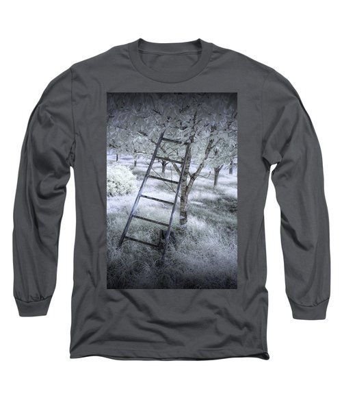 Ladder In A Cherry Orchard In Infrared Long Sleeve T-Shirt