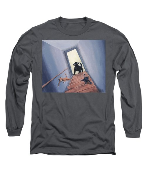 Lady Chases The Cats Down The Stairs Long Sleeve T-Shirt