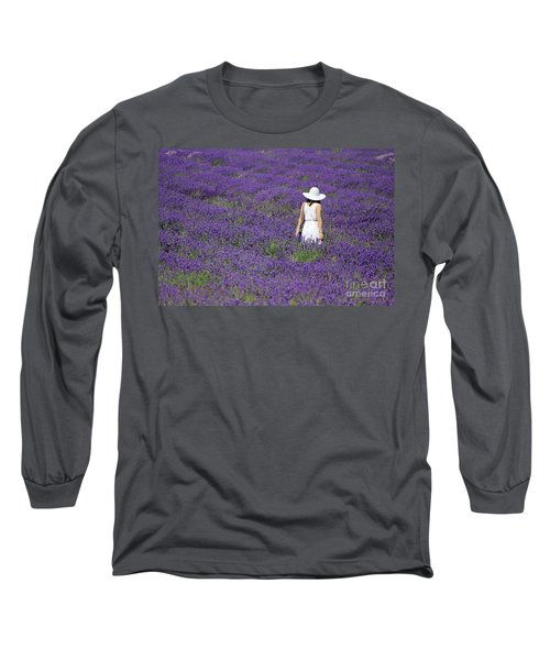 Lady In Lavender Field Long Sleeve T-Shirt