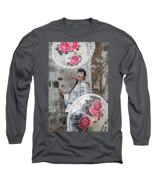 Lady With An Umbrella. Long Sleeve T-Shirt