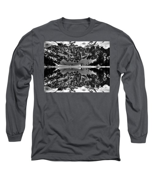 Lake 22 Winter Black And White Reflection Long Sleeve T-Shirt