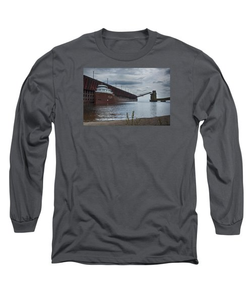 Lake Freighter Long Sleeve T-Shirt by Dan Hefle