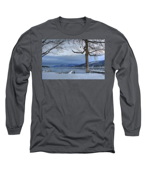 Lake George In The Winter Long Sleeve T-Shirt by Sharon Batdorf