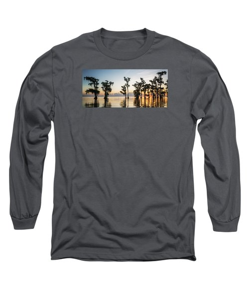 Long Sleeve T-Shirt featuring the photograph Lake Maurepas Sunrise by Andy Crawford