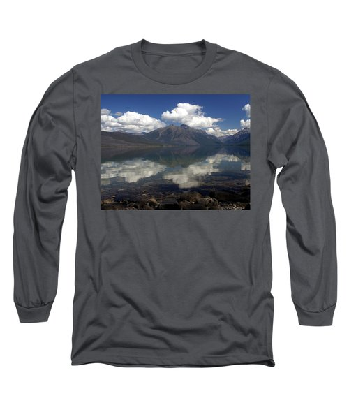 Lake Mcdonald Reflection Glacier National Park Long Sleeve T-Shirt