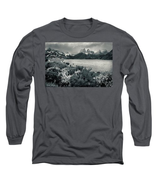 Long Sleeve T-Shirt featuring the photograph Lake Pehoe In Black And White by Andrew Matwijec