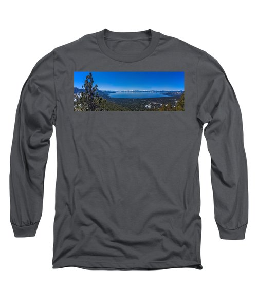 Lake Tahoe Spring Overlook Panoramic Long Sleeve T-Shirt