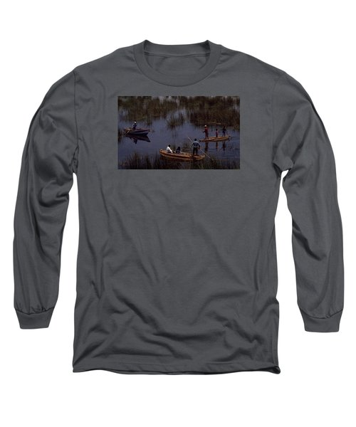 Long Sleeve T-Shirt featuring the photograph Lake Titicaca Reed Boats by Travel Pics