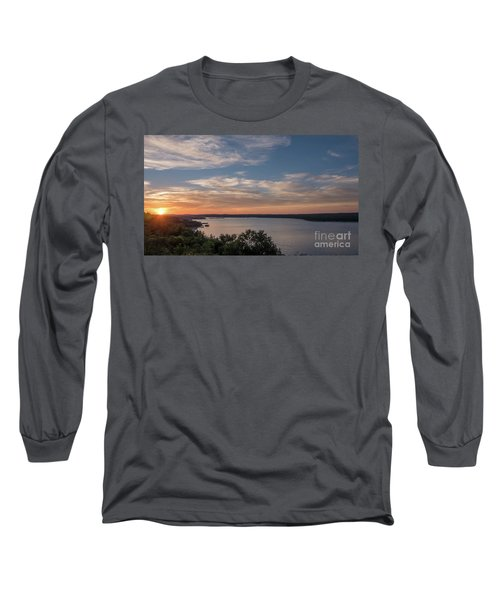 Lake Travis During Sunset With Clouds In The Sky Long Sleeve T-Shirt