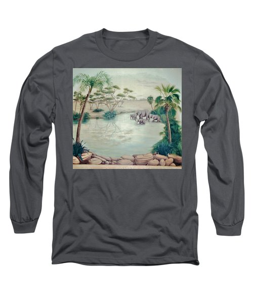 Lake With Oasis And Palm Trees Long Sleeve T-Shirt