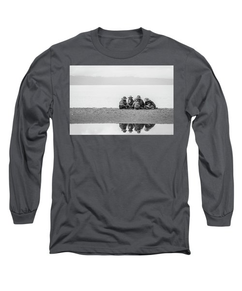 Long Sleeve T-Shirt featuring the photograph Lakeshore Discussion, Namtso, 2007 by Hitendra SINKAR