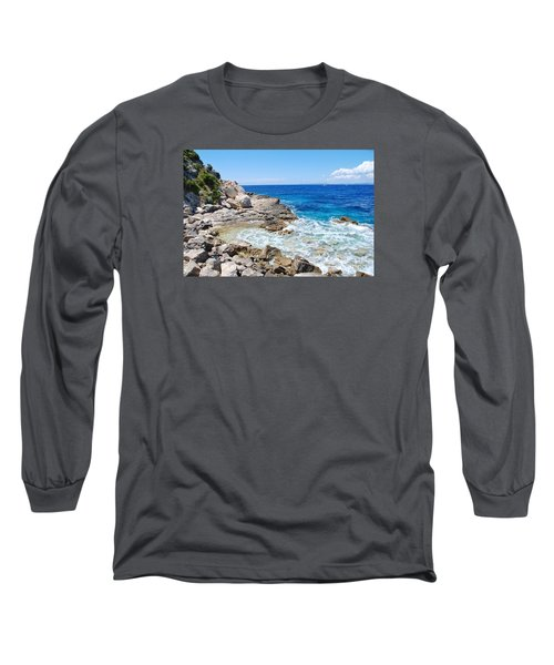 Lakka Coastline On Paxos Long Sleeve T-Shirt