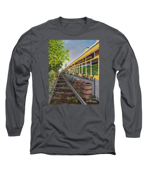Long Sleeve T-Shirt featuring the painting Lambertville Station by Val Miller