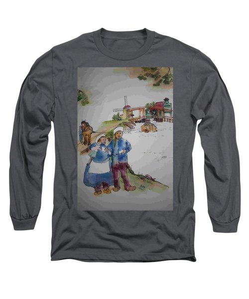 Land Of Windmill Clogs  And Tulips Album Long Sleeve T-Shirt by Debbi Saccomanno Chan