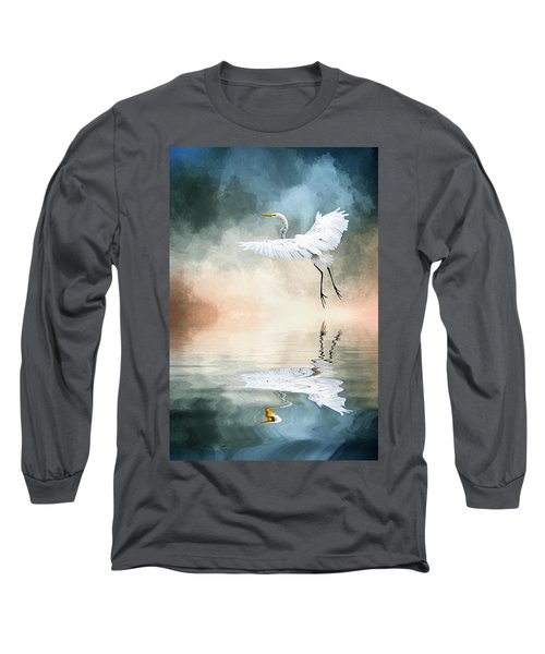 Landing At Dawn Long Sleeve T-Shirt by Cyndy Doty