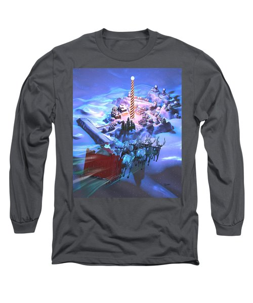 Landing At The North Pole Long Sleeve T-Shirt by Dave Luebbert