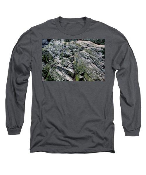 Large Rock At Central Park Long Sleeve T-Shirt by Sandy Moulder