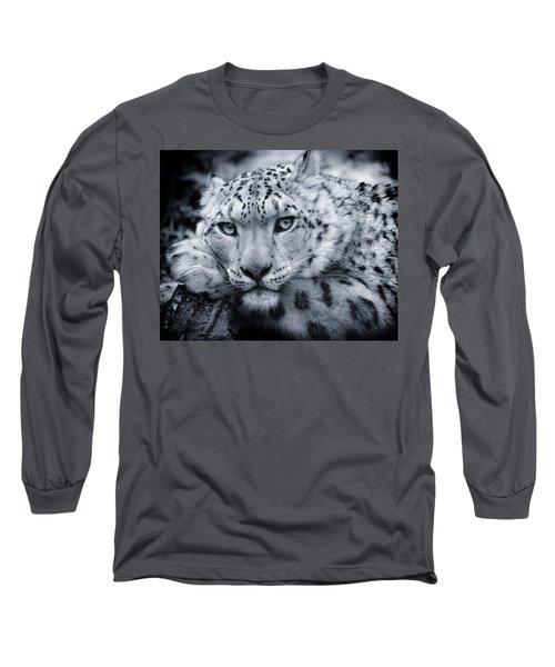 Large Snow Leopard Portrait Long Sleeve T-Shirt