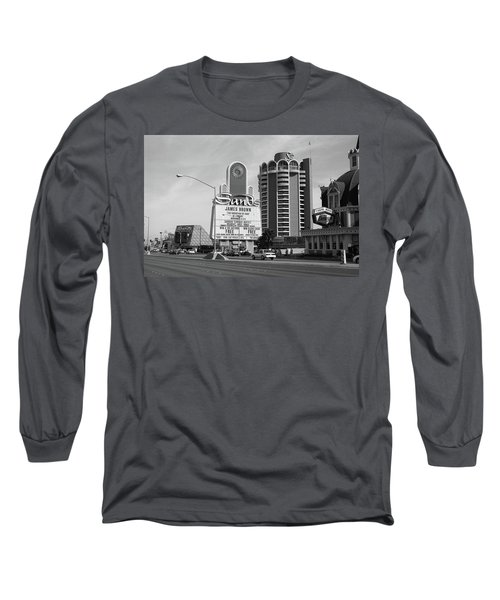 Long Sleeve T-Shirt featuring the photograph Las Vegas 1994 #1 Bw by Frank Romeo