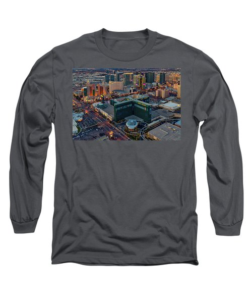 Long Sleeve T-Shirt featuring the photograph Las Vegas Nv Strip Aerial by Susan Candelario
