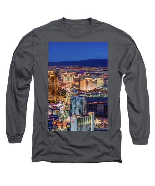 Long Sleeve T-Shirt featuring the photograph Las Vegas Strip From The Stratosphere Tower by Aloha Art