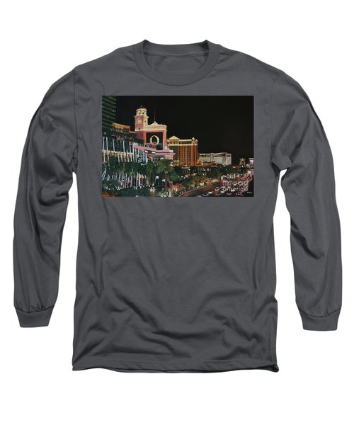 Las Vegas Strip Oil On Canvas Long Sleeve T-Shirt