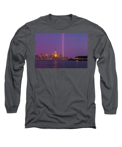 Laser Twin Towers In New York City Long Sleeve T-Shirt by Ranjay Mitra