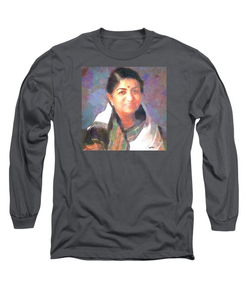Lata Mangeshkar  Long Sleeve T-Shirt by Wayne Pascall