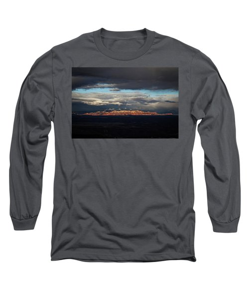 Long Sleeve T-Shirt featuring the photograph Late Light On Red Rocks With Storm Clouds by Ron Chilston