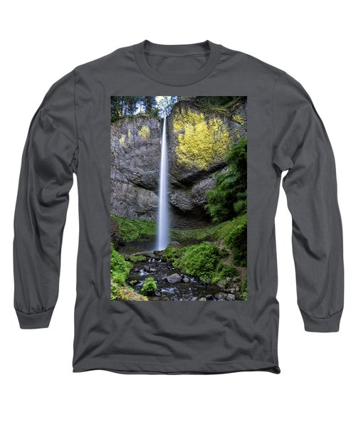Latourell Water Fall Oregon Dsc05430 Long Sleeve T-Shirt by Greg Kluempers