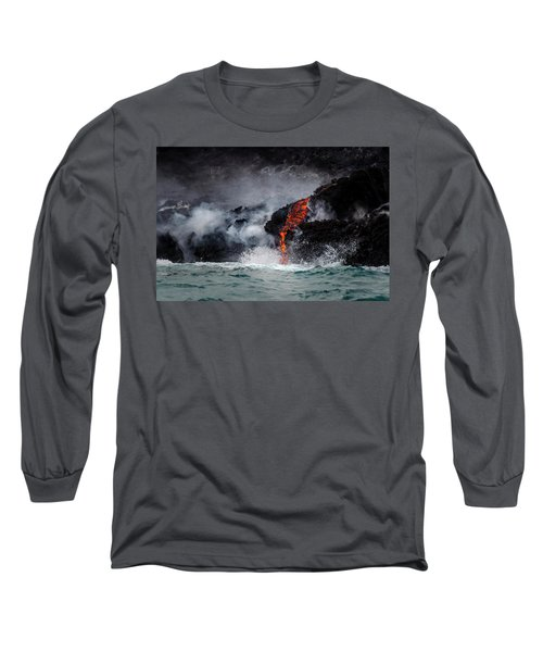 Lava Dripping Into The Ocean Long Sleeve T-Shirt