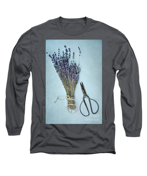 Long Sleeve T-Shirt featuring the photograph Lavender And Antique Scissors by Stephanie Frey