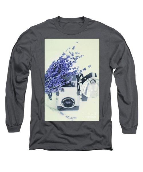 Lavender And Kodak Brownie Camera Long Sleeve T-Shirt by Stephanie Frey