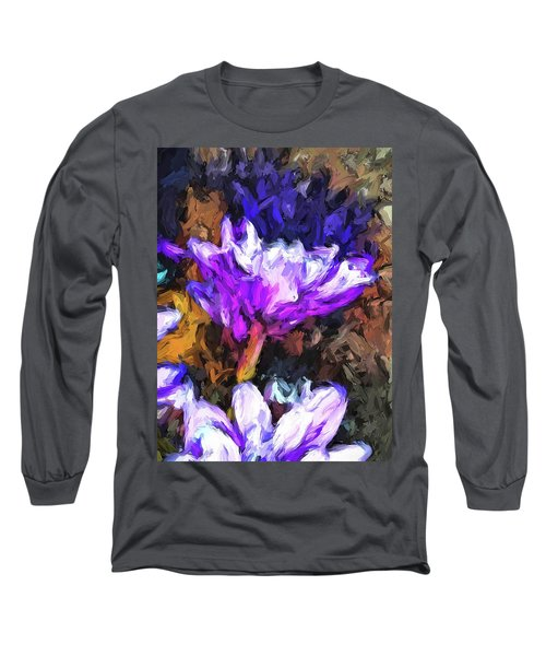 Lavender And White Flower With Reflection Long Sleeve T-Shirt
