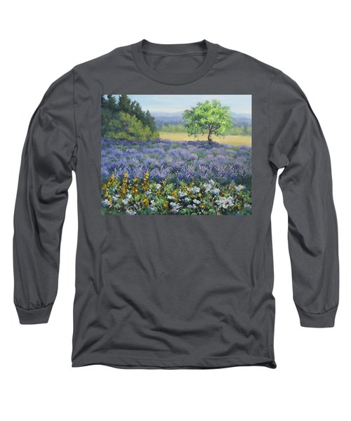 Long Sleeve T-Shirt featuring the painting Lavender And Wildflowers by Karen Ilari