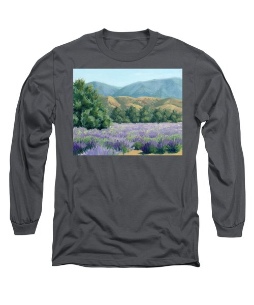 Long Sleeve T-Shirt featuring the painting Lavender, Blue And Gold by Sandy Fisher