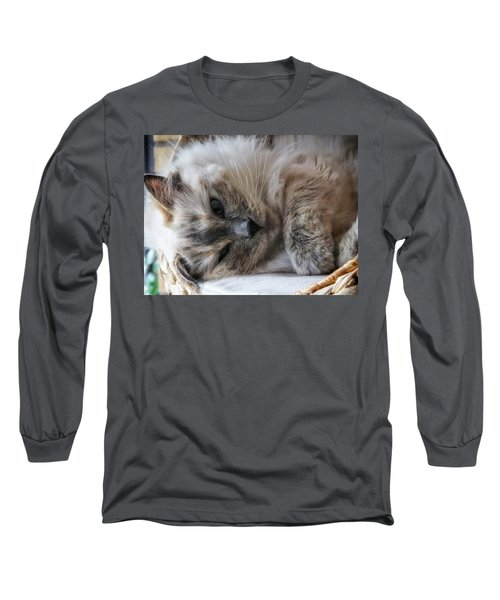Long Sleeve T-Shirt featuring the photograph Lazy Kitty by Karen Stahlros